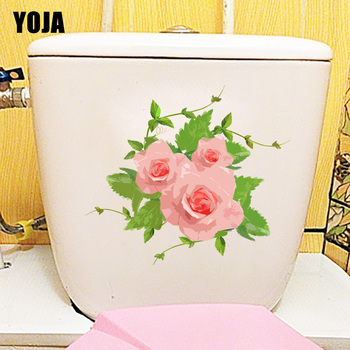 YOJA 24.3X21.3CM Hand Painted Watercolor Flowers Toilet Sticker Fashion Room Decoration Wall Decal T1-1978 image