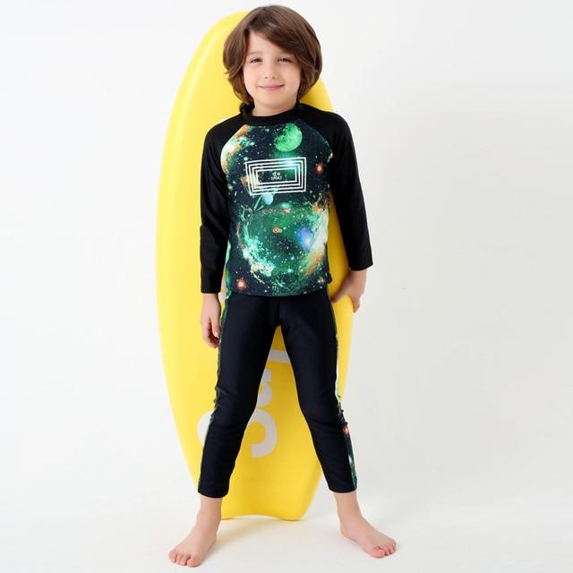 fab9404769 2017 New Print Starry Sky Swimwear Kids New Long Sleeves Two Piece Swimsuit  Boy Long Pants Beach Surfing Bathing Suit Child