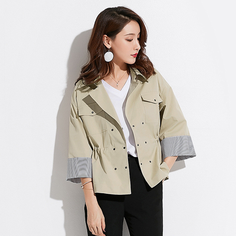 2018 Women   Trench   Coat Khaki Slim Belt Cloak Mujer Windbreaker Double Breasted Short Spliced strip Female Outerwear Abrigos S54