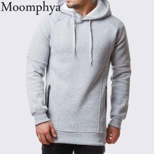 Moomphya Pleated sleeve streetwear men hoodies Hip hip hooded sweatshirts men hoodie zipper Slim striped hoodies men