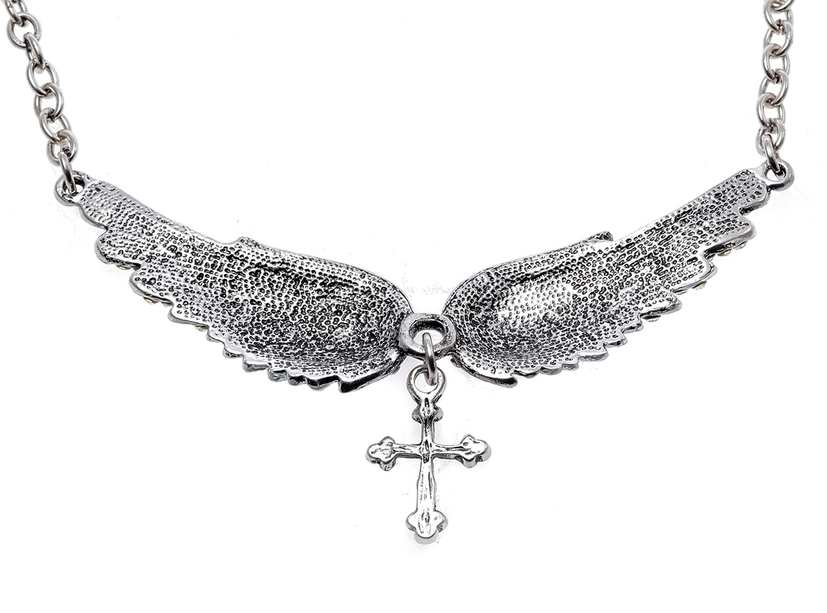 YACQ Angel Wing Cross Choker Kaelakee Guardian Naised Biker Crystal - Mood ehteid - Foto 6