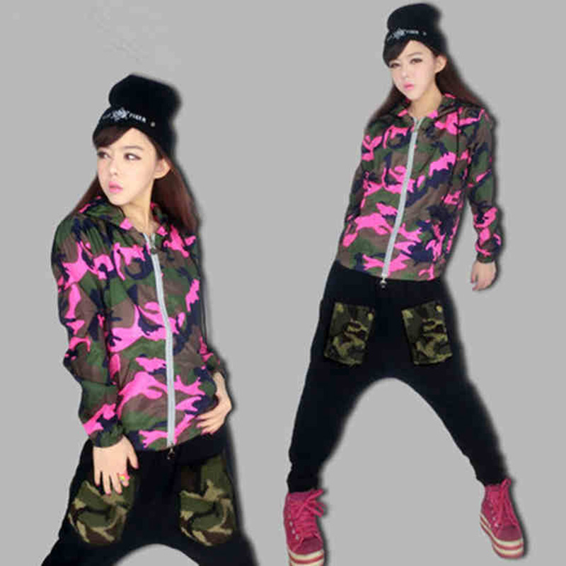 Free Shipping New Design Women Down Jacket Outerwear Camouflage Top Hooded Pink Fashion Women ...