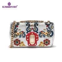 Супер Элитный бренд цепь сумка 100% из натуральной кожи Для женщин сумки Винтаж барокко Европейский Стиль драгоценный камень украшения сумки