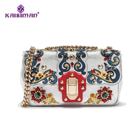 Super Luxury Brand Chain Shoulder Bag 100% Genuine Leather Women Bags Vintage Baroque European Style Gemstone Decoration Handbag