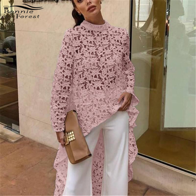 Bonnie Forest 2019 Spring New Long Sleeve Lace Crochet Tops Women