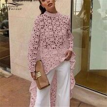 9cdff019f41 Bonnie Forest Hot Girls Long Sleeve Lace Crochet Tops Women Fashion High Low  Asymmetrical Irregular Hem Blouse Shirt Dress