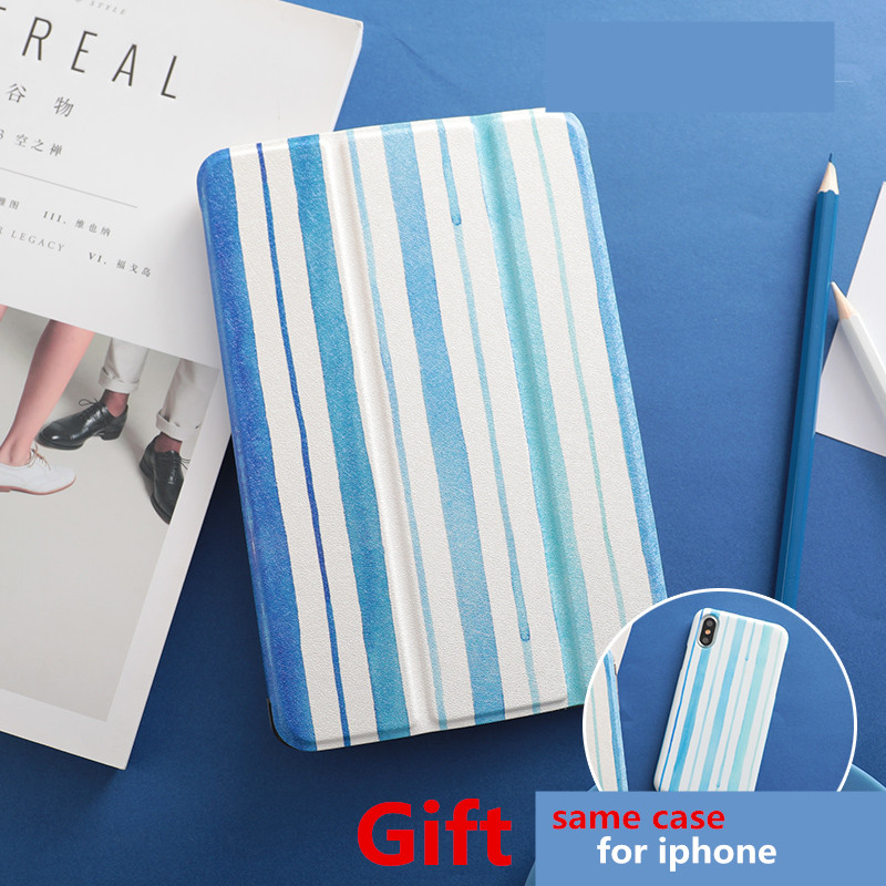 Blue Stripe Magnet PU Leather Case Flip Cover For iPad Pro 9.7 10.5 Air Air2 Mini 1 2 3 4 Tablet Case For New ipad 9.7 2017 mimiatrend tige for apple ipad air 1 2 air2 flip pu leather case smart cover for new ipad 9 7 2017 tablet case for ipad pro 9 7