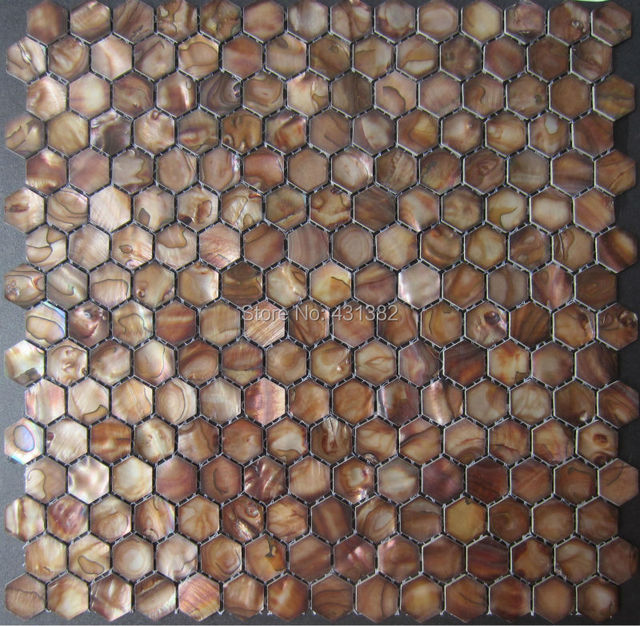 Factory direct pricing Shell tile browns color,20 hexagon shaped ...