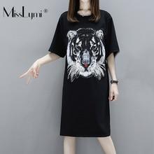M-XXXL Plus Size Women Cotton T shirt Dress Summer 2018 Animal Tiger Sequin  Embroidery 1cda96baff48