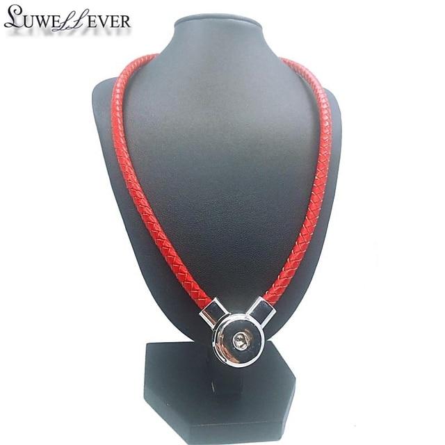 Mode PU Original Wirklich Echtem Leder 18mm Druckknopf Charme Magnetische Verschluss Anhänger Halskette Schmuck Für Frauen Geschenk 50 cm