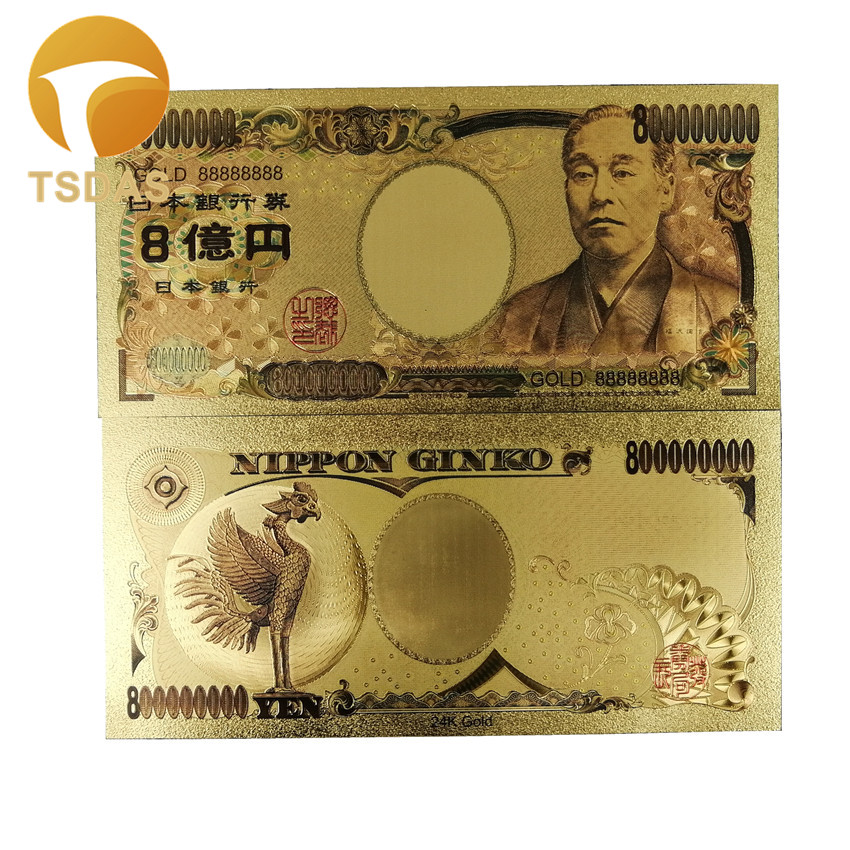 Colorful Japan Banknotes 24K Gold Plated 800 Million Yen Gold 88888888 Gold Foil Banknote ...