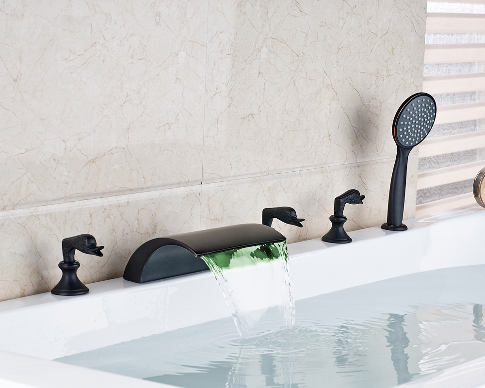 Oil Rubbed Bronze Finished Deck Mounted LED Spout Bathtub Faucet 5pcs Mixer Tap With Hand Shower