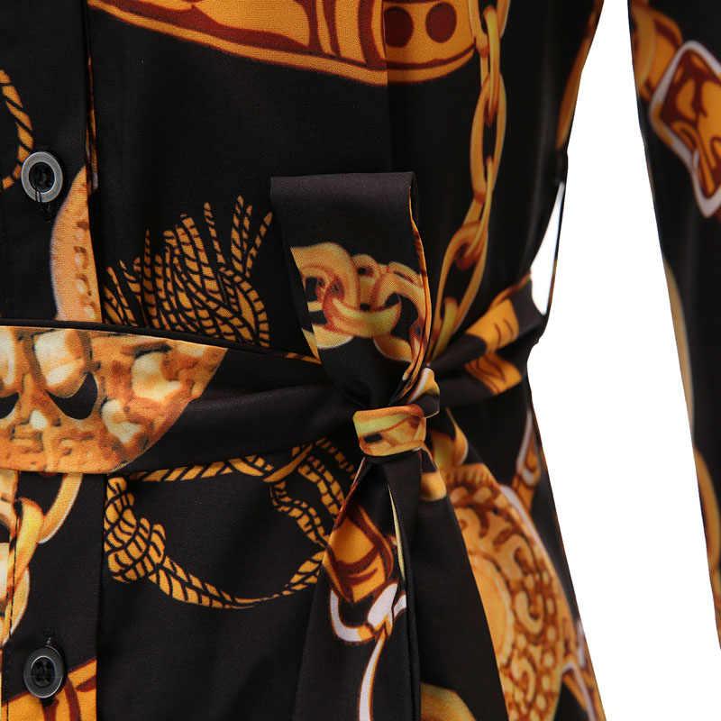 Черный, белый цвет цепи печати туника блузка Для женщин 2019 Новый Демисезонный Офисные женские туфли Для женщин блузки Топы Блузы Femme S-5XL 6XL