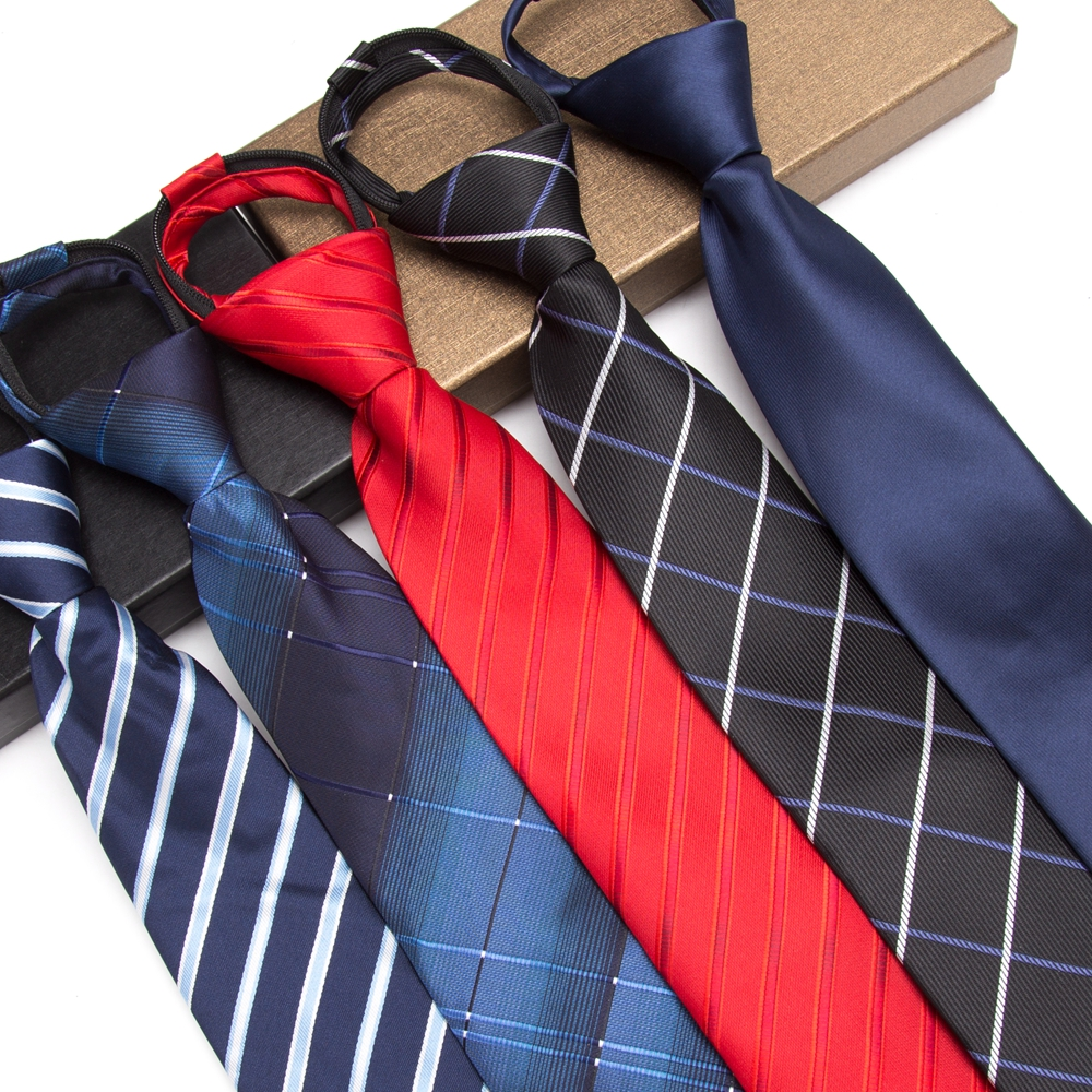 Men Zipper Tie Lazy Ties Fashion 8cm Business Necktie For Man Lazy Tie Easy To Pull Rope Neckwear Wedding 1200 Knitting Density
