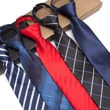 Men Zipper Tie Lazy Ties Fashion 8cm Business Necktie For Man Easy To Pull Rope Neckwear Wedding 1200 knitting density