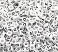 "DoreenBeads Free Shipping! Mixed White Alphabet/ Letter Acrylic Cube Beads 6x6mm(1/4""x1/4""), 500Pcs (B18077)"