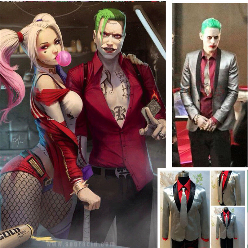 Men Suicide Squad The Joker Costume Cosplay Suit Jacket Coat Psychos Killers lot with Full Set Jacket+Pants+Shirts+Tie