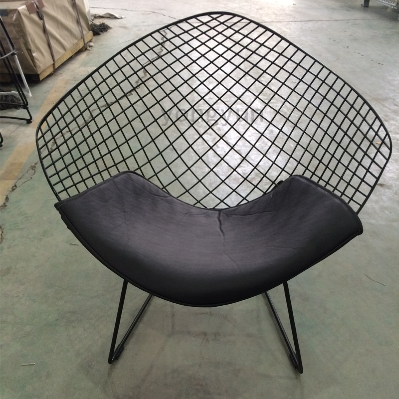 Leisure Chair Diamond Steel Wire Chair Minimalist Modern Wire Chair Diamond Chair  Cushion Powdercoat Black  In Dining Chairs From Furniture On ...