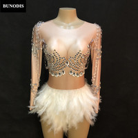 BU380 Women Sexy Skin Color Bodysuit Short White Feather Skirt Glass Silver Big Sparkling Crystals Jumpsuit Nightclub Party