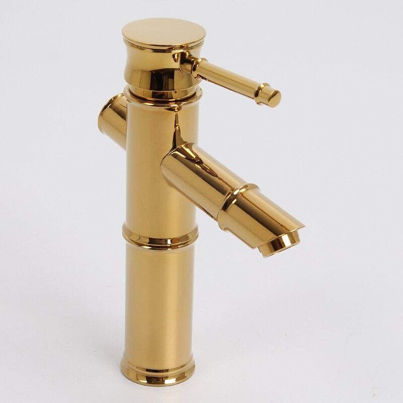 Moderne or bambou conception lavabo évier court robinet mélangeur robinet pont montage unique trou nouveau