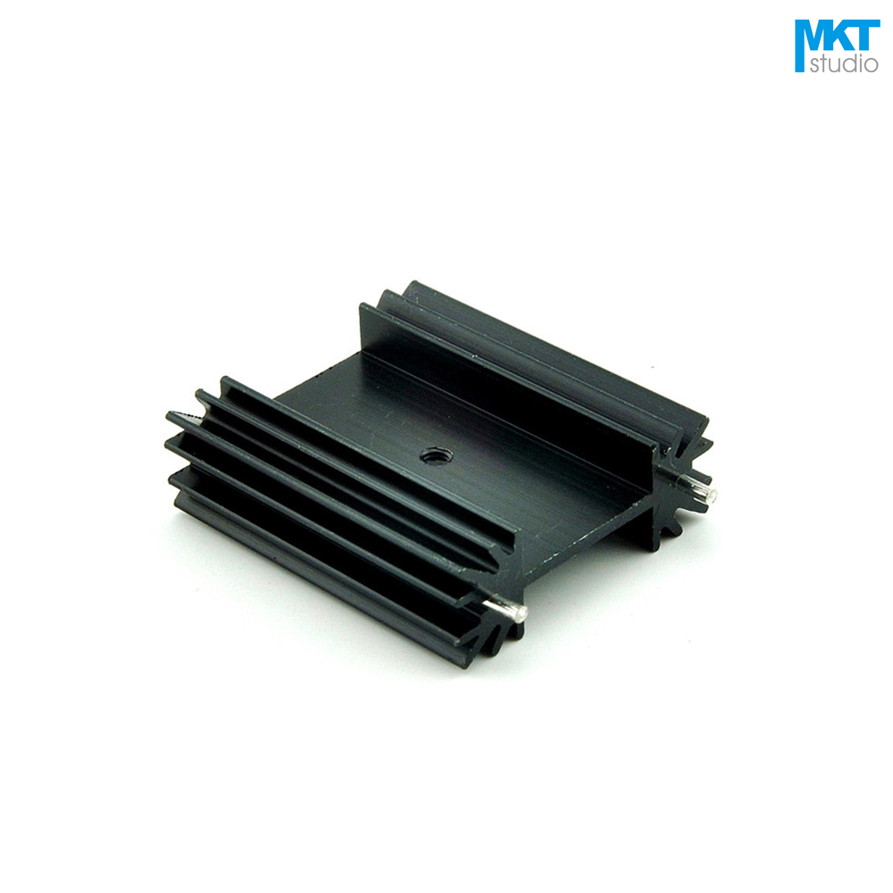 100Pcs Black 38x34x12B Pure Aluminum Cooling Fin Radiator Heat Sink