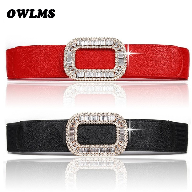 New Rhinestone Cummrebunds Red Full Crystal Buckle Wide Waistband Decorate Female Body Sculpting Band Black Elastic Women Belts