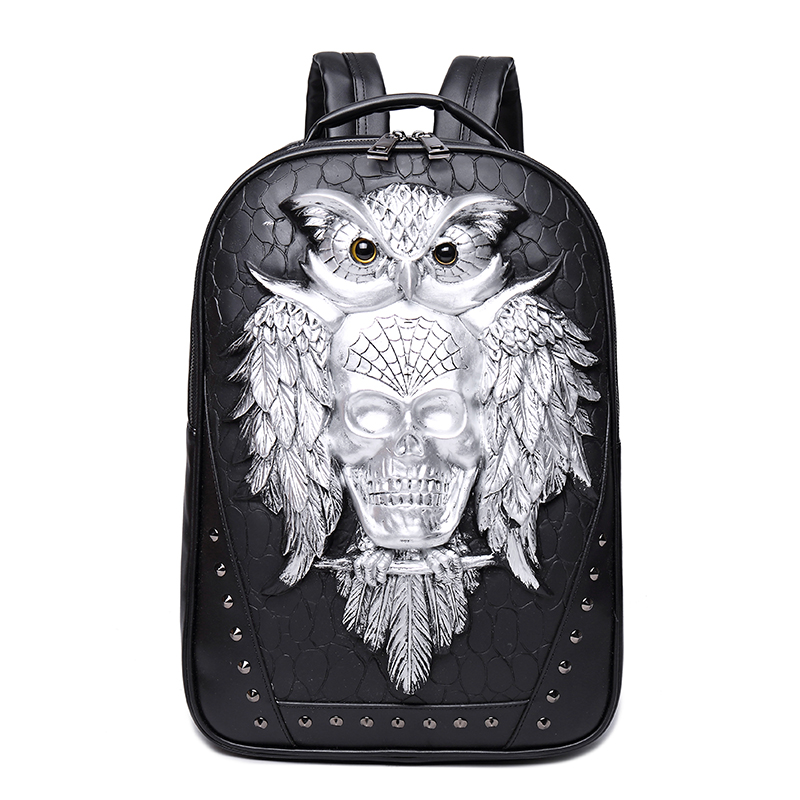 3D Owl Skull Embossing Rivet Black Purse Satchel Man Backpack Halloween Stylish Cool PU Leather laptop Travel Soft Bags stylish plastic material back case cover with 3d vary picture design skull man pattern