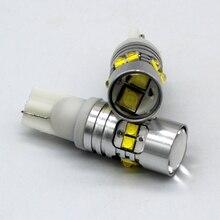 2x T10 194 W5W CREE чип Led белый/желтый 50 Вт с Len проектор Алюминиевый Чехол лампы DRL Автомобильный интерьер обратный источник светильник
