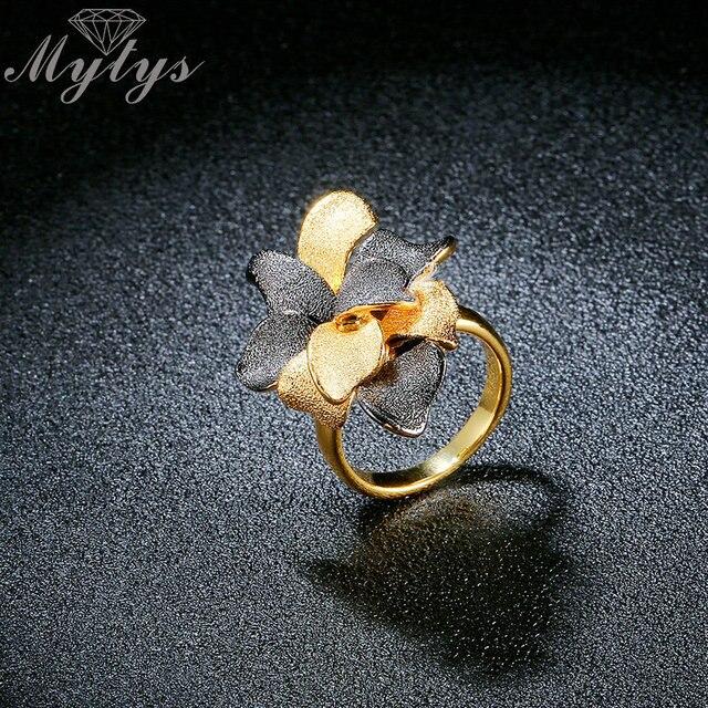Mytys Black and Gold di Colore Vintage Frosted Metallo Anello Fiore per Le Donne Fashion Statement Ring Collection Regalo R1921
