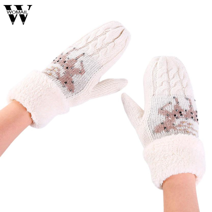 2017 Women Warmer Christmas Fawn Thicken Knitted Finger Thermal Skiing Gloves Mitten