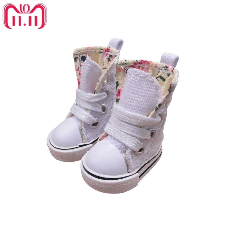Tilda 3.5cm Doll Boots for Blythe Doll Toy,1/8 Mini Canvas Dolls Shoes for BJD,Casual Puppet Doll Sneakers Accessories One Pair цена