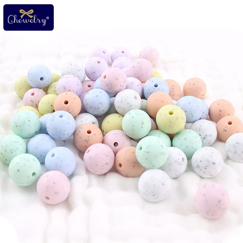 15mm 100pcs/lot Baby Teether Silicone Beads DIY Crib Rattle Toys For Pacifier Pendant Granite BPA Free Teether Beads Let's Make