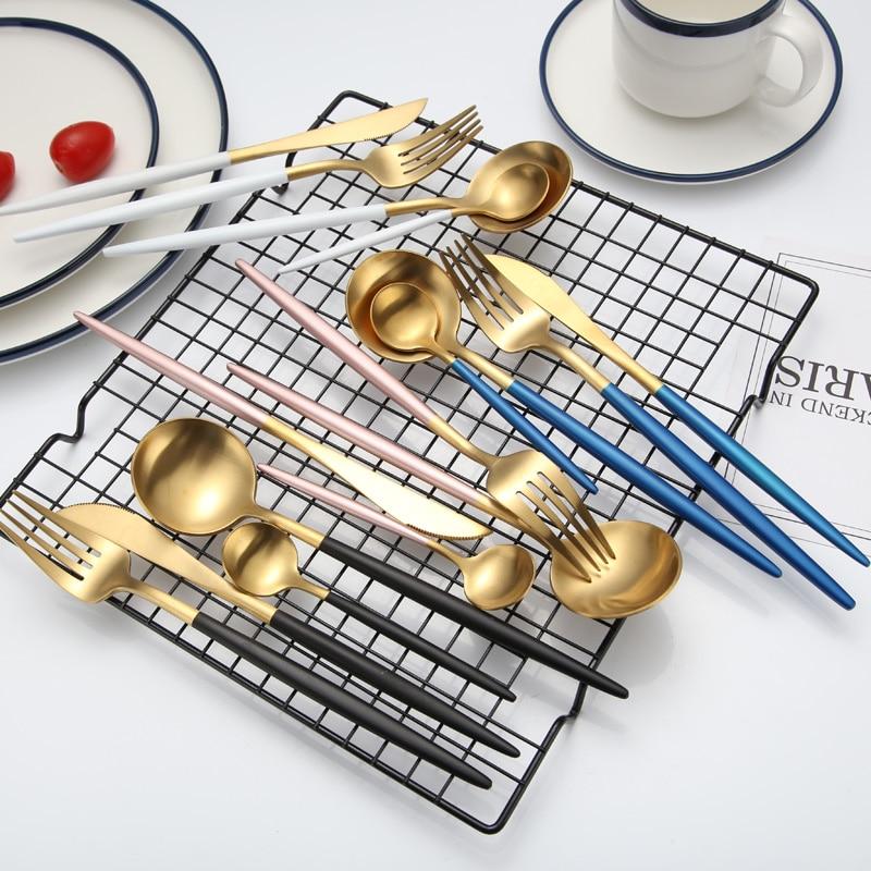KuBac Hommi 24pcs Gold Cutlery Set Black Dinnerware Forks Knives Scoops Set 18 10 Stainless Steel