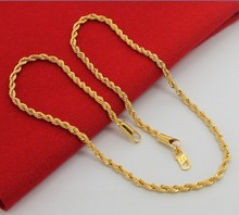 24K Pure Gold Necklace, Top Quality, Wholesale Fashion Jewelry, Gold color Necklace, Popular Chains Necklace For Men Punk Party