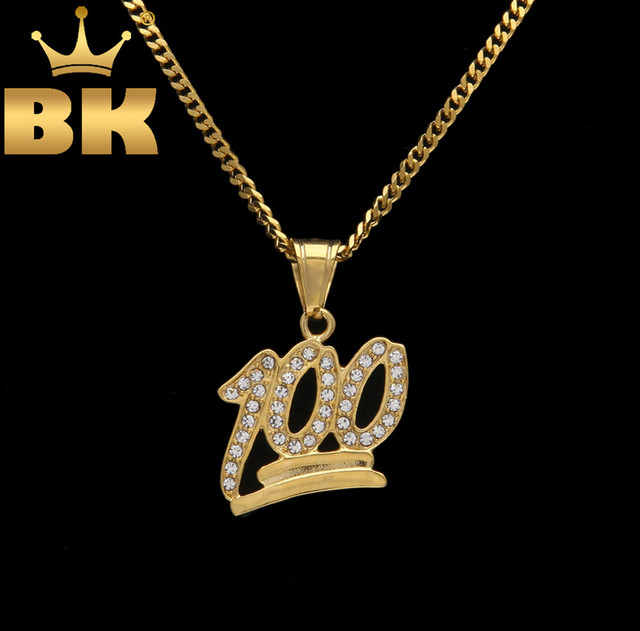 73ee536c037fa US $7.87 20% OFF|Aliexpress.com : Buy Women Mens Necklace One Hundred  Percent Pendant Gold Color Number 100 Emoji Bling Rhinestones Cuban Chain  Hiphop ...