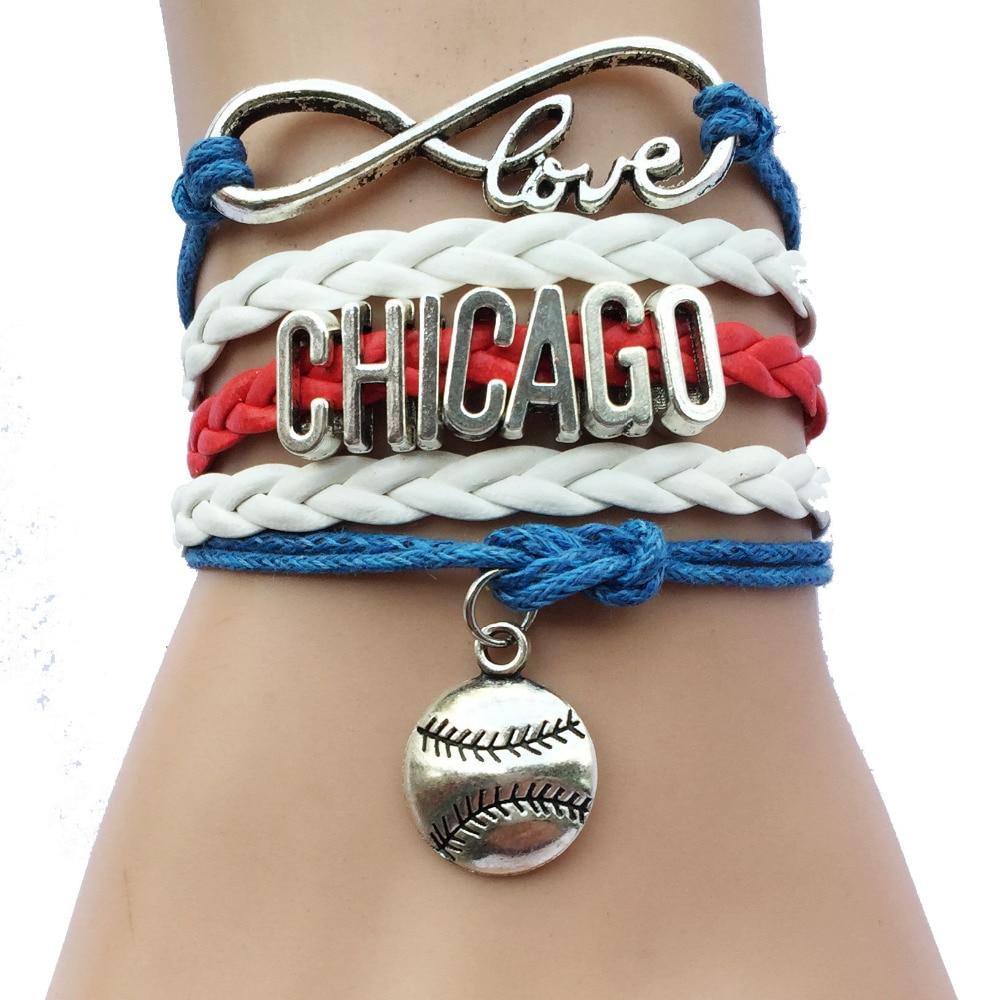 Infinity Love Chicago Baseball Bracelets Sports Leather Braided Softball  Charm Team Bracelet Friendship Gift(