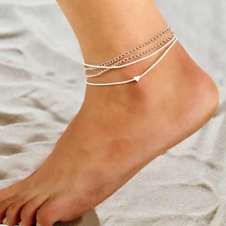 2018 โบฮีเมียนสไตล์ใหม่ชายหาดรักหลายชั้นข้อเท้าหญิงรูปหัวใจคู่ footwork
