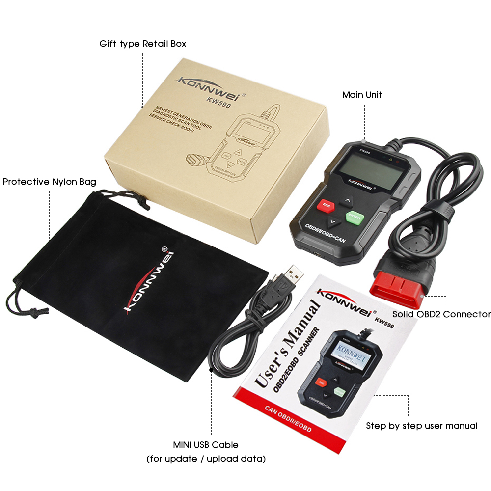 Image 5 - KONNWEI ODB2 Automotive Scanner KW590 OBD2 OBD Diagnostic Scanner in Russian Car Code Reader Auto Scanner Better AD310 ELM327-in Code Readers & Scan Tools from Automobiles & Motorcycles