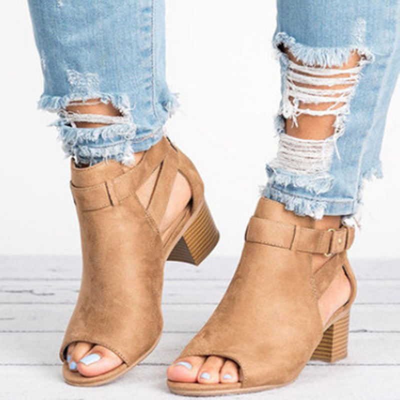 Woman Sandals Shoes 2019 Summer Fashion Style Wedges Pumps High Heels Buckle Strap Gladiator Women Solid Plus Size 34-43
