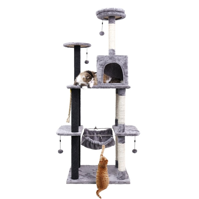 H175CM Big Cat Tree House With Hammock Kitten Furniture Scratch Wood With Hanging Ball Toys Cats Climbing Frame Cat Condos