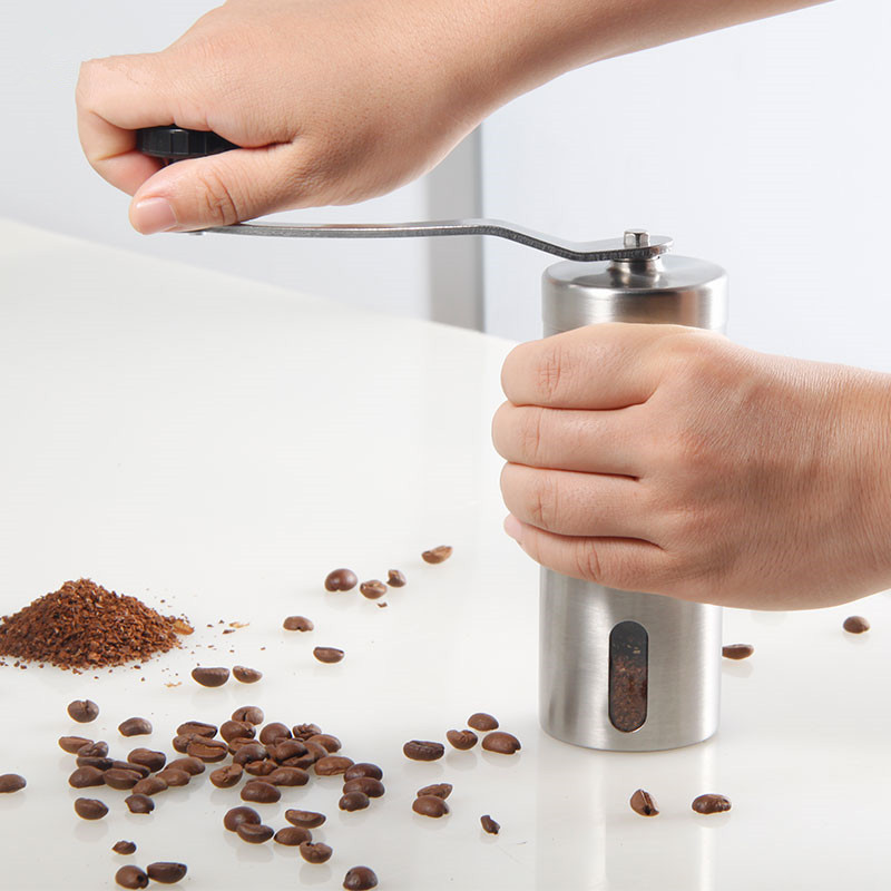 Kahve Değirmeni Paslanmaz Çelik Gümüş El Manuel El Yapımı - Elektrikli Mutfak Aletleri - Fotoğraf 3