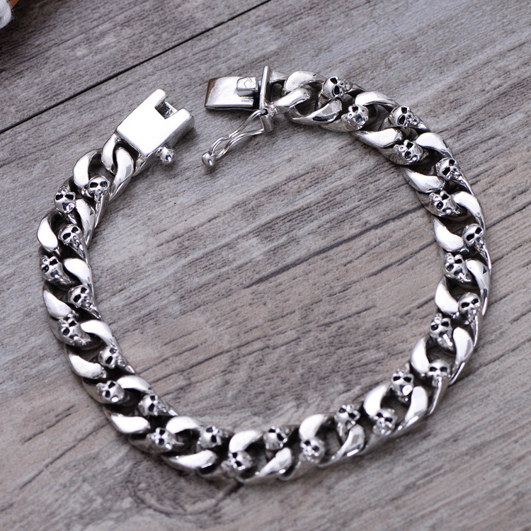 925 Sterling Silver Bracelets For Men Skull Bracelet Vintage Punk Rock Gothic Bague Fashion Men Skull Curb Chain Fine Jewelry chic skull shape bracelet for men