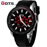OTS Cool Black Mens 2018 Fashion Large Face LED Digital Outdoor Man Sports Watches Quartz Hodinky Military Luminous Wristwatches