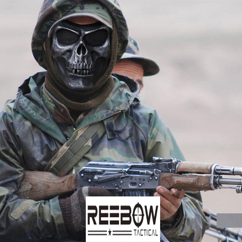bfc8de882de17 REEBOW TÁTICO Equipamento Militar Do Exército Airsoft Paintball Combate Máscara  Máscara de Caveira Fallout Jogo Campo de Caça Ao Ar Livre Cáqui Preto