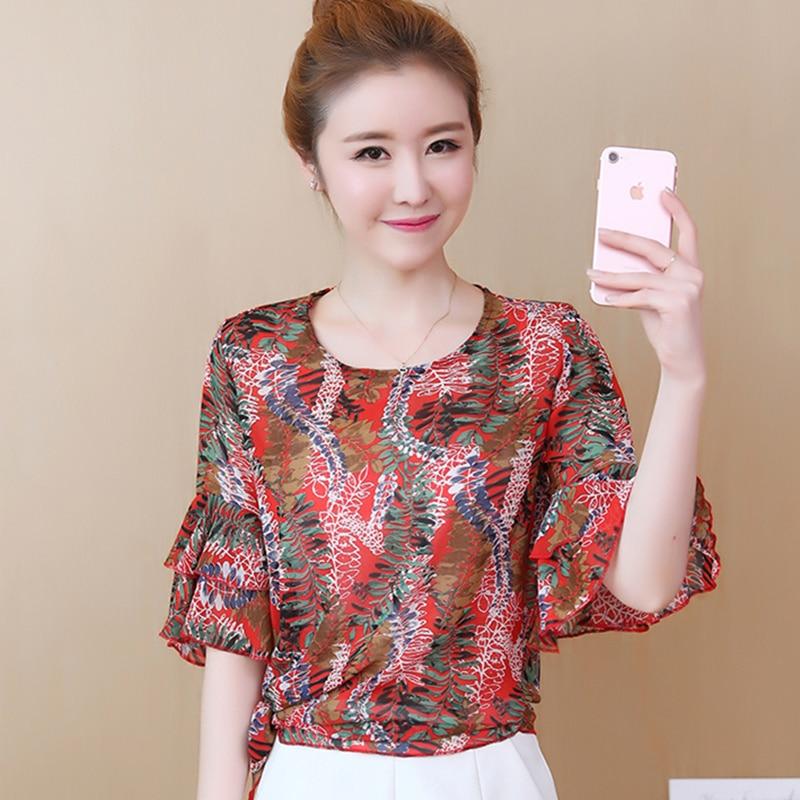f186d28a759 2019 новые летние женская шифоновая блузка с коротким рукавом О-образный  вырез с принтом Цветочные