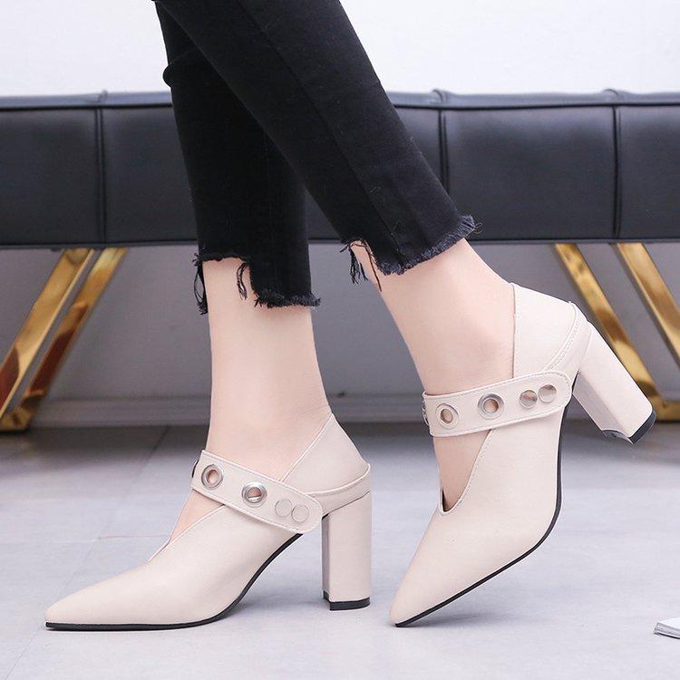 À La Bride white Automne Pointu Femmes Black Femme Talons forme 2019 Bout Plate Hauts brown Chaussures D'été Cheville Pompes Sexy tqwE5E