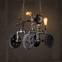 Iron Water Pipe Loft Style Pendant Lights Wooden Gear Droplight Creative Hanglamp Fixtures For Bar Cafe Foyer Home Lightings