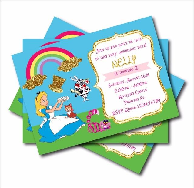 20 Pcs Lot Custom Alice In Wonderland Party Invites Vintage