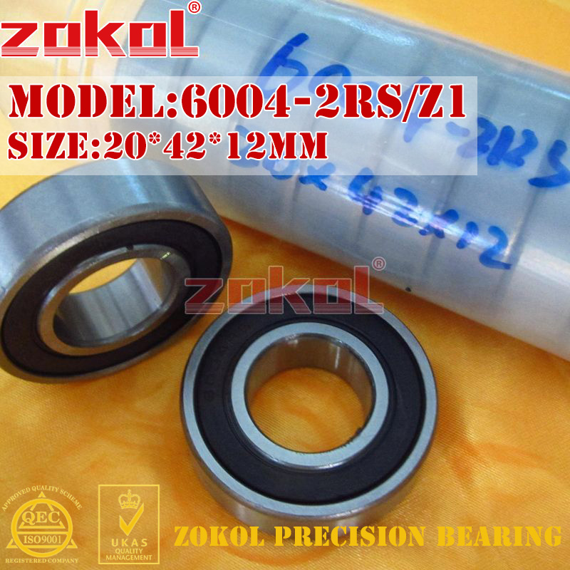 ZOKOL 6004 RS Bearing 6004 2RS Z3V3 6004ZZ Z1 S6004zz Deep Groove Ball Bearing 20*42*12mm