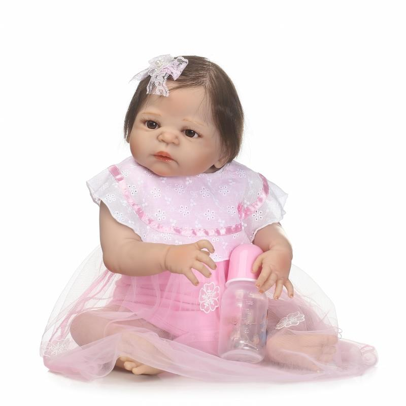 Newborn baby girl dolls 23 inch Full body silicone dolls for children gift bebe real alive reborn bonecas pink dress rooted hair 20 real bebe girl reborn bonecas full body silicone reborn dolls with pacifier pink pillow child lover gift